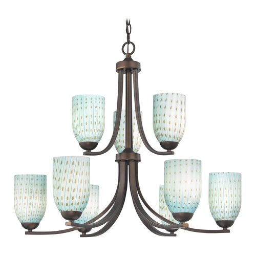 Design Classics Lighting Modern Chandelier in Neuvelle Bronze Finish 586-220 GL1003D