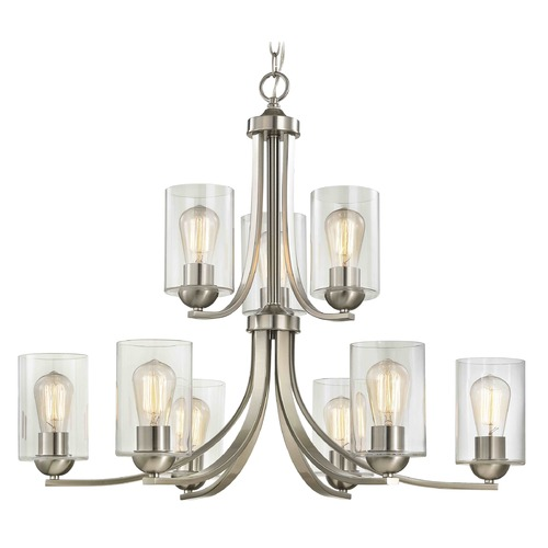 Design Classics Lighting Design Classics Dalton Fuse Satin Nickel Chandelier 586-09 GL1040C