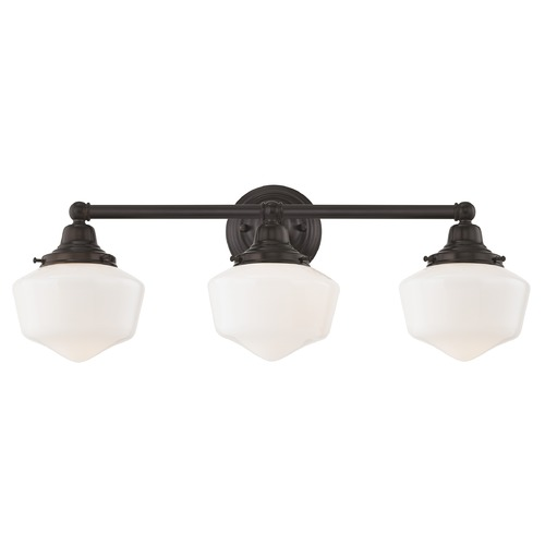 Design Classics Lighting Schoolhouse Bathroom Light Bronze White Opal Glass 3 Light 23.125 Inch Length WC3-220 GF6