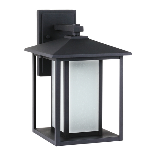 Sea Gull Lighting Outdoor Wall Light with White Glass in Black Finish 89031BLE-12
