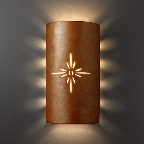 Justice Design Group Sconce Wall Light in Rust Patina Finish CER-9015-PATR