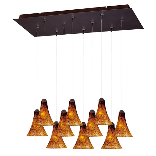 ET2 Lighting Minx Bronze Multi-Light Pendant with Bell Shade E93933-104BZ