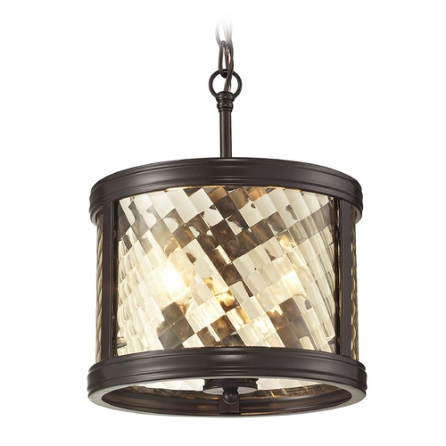 Elk Lighting Drum Pendant Light with Clear Glass in Oil Rubbed Bronze Finish 31451/3