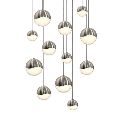 Sonneman Lighting Sonneman Grapes Satin Nickel 12 Light LED Multi-Light Pendant 2917.13-AST