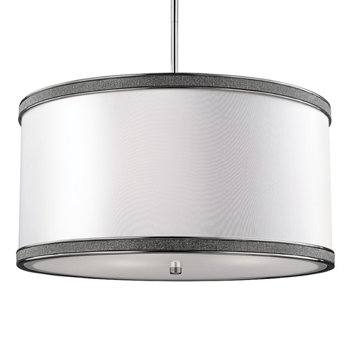 Feiss Lighting Feiss Lighting Pave Polished Nickel Pendant Light with Drum Shade F2969/3PN