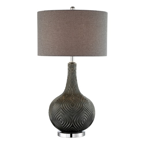 Lite Source Lighting Lite Source Dylan Metallic Grey Table Lamp with Drum Shade LS-23072GREY