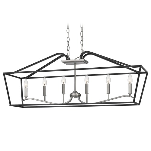 Quoizel Lighting Quoizel Lighting Catalina Antique Nickel with Earth Black Accents Island Light CTA642MBK
