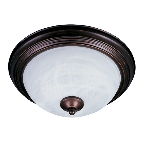 Maxim Lighting Flushmount Light with White Glass in Oil Rubbed Bronze Finish 5849MROI