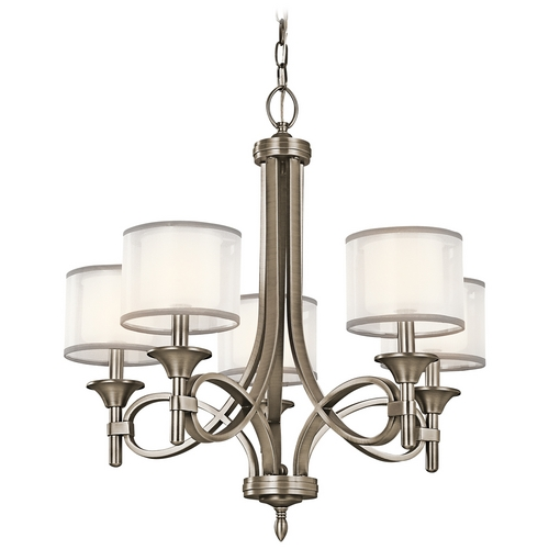 Kichler Lighting Kichler Chandelier with White Glass in Antique Pewter Finish 42381AP
