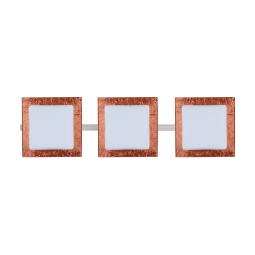 Besa Lighting Modern Bathroom Light with Copper Glass in Satin Nickel Finish 3WS-7735CF-SN