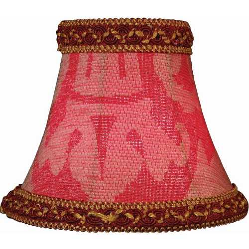 Lite Source Lighting Red Jacquard Bell Lamp Shade with Clip-On Assembly CH522-6