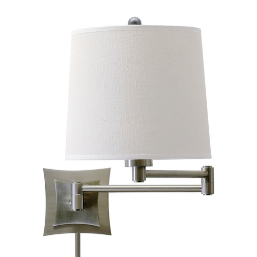 House of Troy Lighting Swing Arm Lamp with White Linen Shade with Three-Way Switch WS752-AS