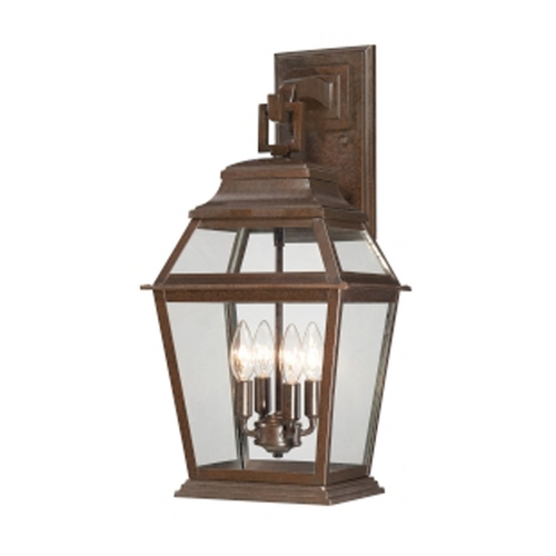 Minka Lavery Outdoor Wall Light with Clear Glass in Architectural Bronze Finish 9283-171