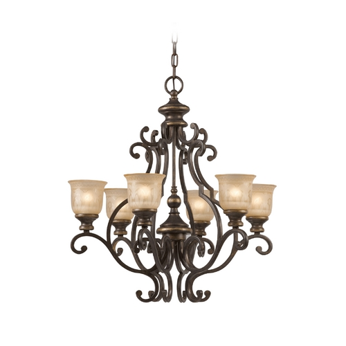 Crystorama Lighting Chandelier with Amber Glass in Bronze Umber Finish 7416-BU