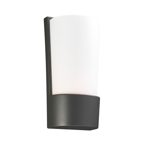 PLC Lighting Modern Outdoor Wall Light with White Glass in Bronze Finish 1721 BZ