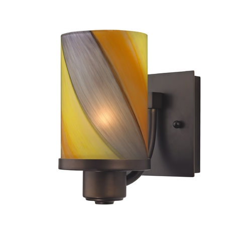 Design Classics Lighting Modern Sconce Wall Light with Art Glass in Neuvelle Bronze Finish 589-220 GL1015C