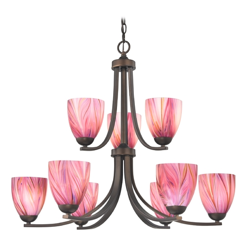 Design Classics Lighting Modern Chandelier with Pink Art Glass in Neuvelle Bronze Finish 586-220 GL1004MB