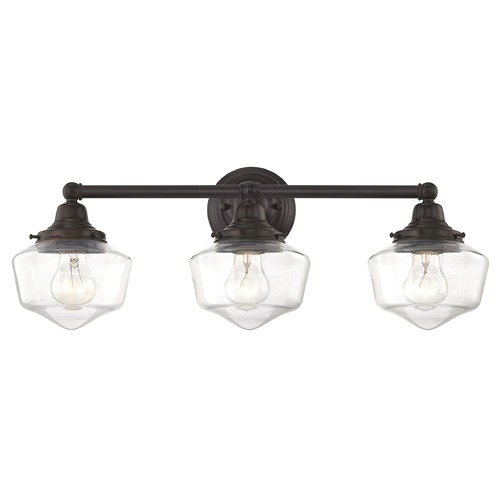Design Classics Lighting Clear Glass Schoolhouse Bathroom Light Bronze 3 Light 23.125 Inch Length WC3-220 GF6-CL