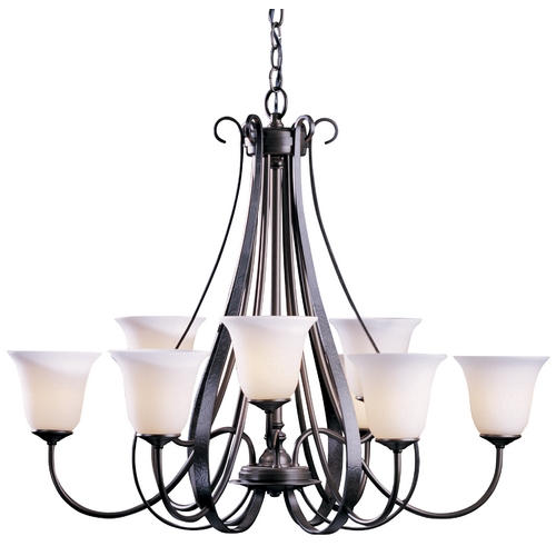 Hubbardton Forge Lighting Hubbardton Forge 2-Tier 9-Light Chandelier with White Glass in Dark Smoke 101459-SKT-07-GG0071