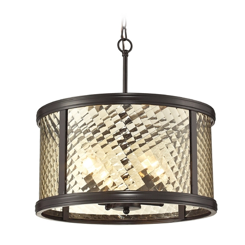 Elk Lighting Drum Pendant Light with Clear Glass in Oil Rubbed Bronze Finish 31452/4