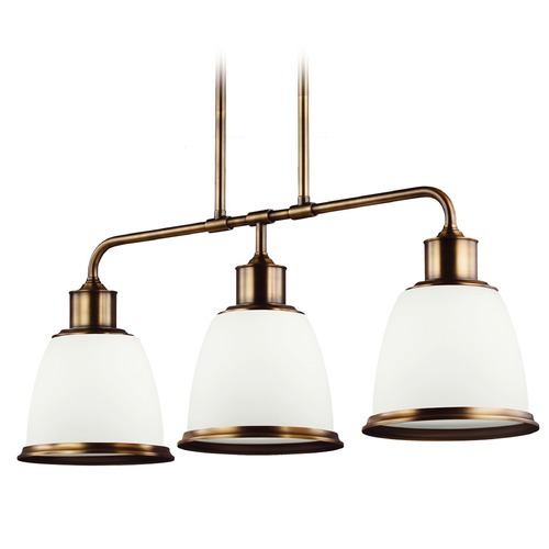 Feiss Lighting Feiss Lighting Hobson Aged Brass Island Light with Bowl / Dome Shade F3017/3AGB