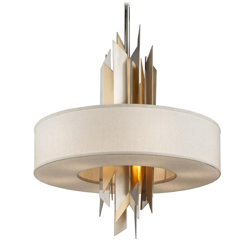 Corbett Lighting Corbett Lighting Modernist Polished Stainless / Silver & Gold Leaf Pendant Light with Drum Shade 207-48