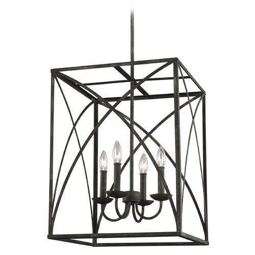 Sea Gull Lighting Sea Gull Lighting Greenbrier Iron Oxide Pendant Light with Rectangle Shade F3195/4IO