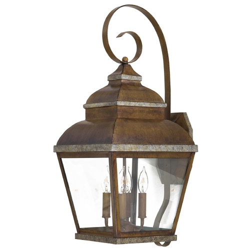 Minka Lavery Outdoor Wall Light with Clear Glass in Mossoro Walnut W/silver Highlights Finish 8267-161