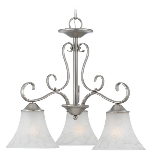 Quoizel Lighting Chandelier with Grey Glass in Antique Nickel Finish DH5103AN