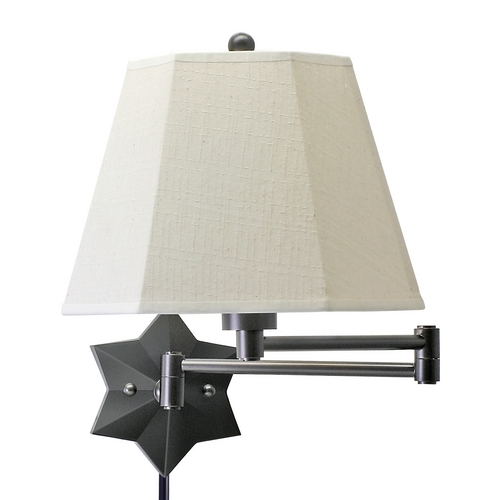 House of Troy Lighting Swing Arm Lamp with Beige / Cream Shade in Oil Rubbed Bronze Finish WS751-OB