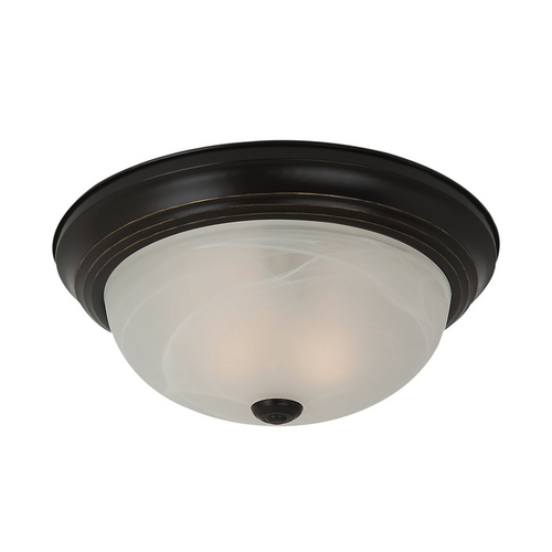 Sea Gull Lighting Flushmount Light with Alabaster Glass in Heirloom Bronze Finish 75940BLE-782