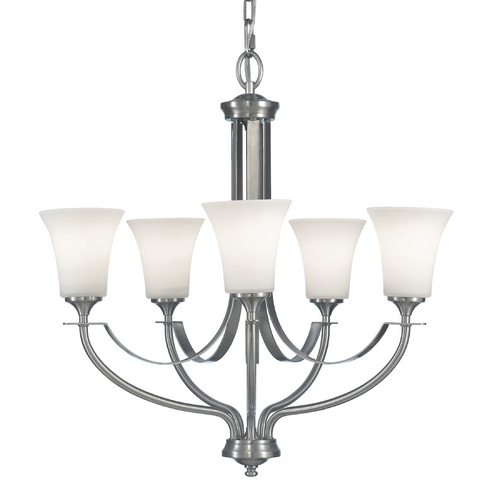 Feiss Lighting Brushed Steel Chandelier with Five Lights F2252/5BS