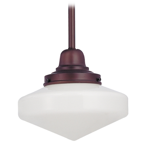 Design Classics Lighting 8-Inch Mini-Pendant Light with Schoolhouse Glass in Bronze Finish FB4-220 / GE8