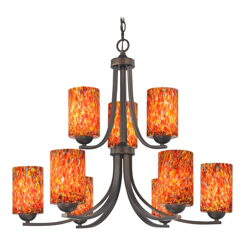 Design Classics Lighting Modern Chandelier with Art Glass in Neuvelle Bronze Finish 586-220 GL1012C