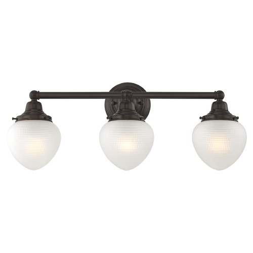 Design Classics Lighting Prismatic Glass Schoolhouse Bathroom Light Bronze 3 Light 22.125 Inch Length WC3-220 GJ5-FF