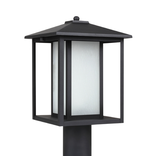 Sea Gull Lighting Post Light with White Glass in Black Finish 89129BL-12