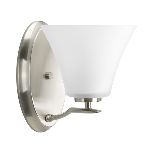Progress Lighting Progress Sconce Wall Light with White Glass in Brushed Nickel Finish P2004-09