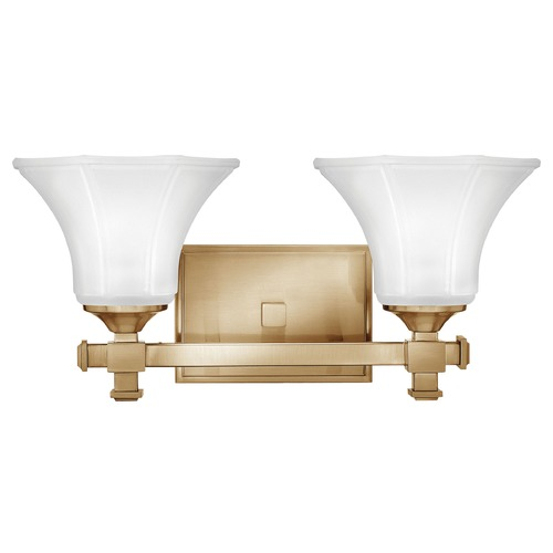 Hinkley Bathroom Light with White Glass in Brushed Caramel Finish 5852BC