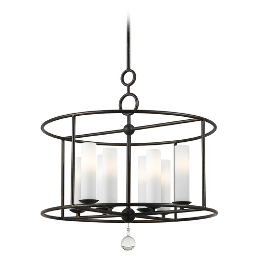 Crystorama Lighting Crystorama Lighting Cameron English Bronze Pendant Light with Cylindrical Shade 9266-EB