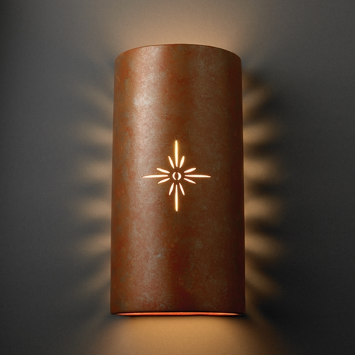 Justice Design Group Sconce Wall Light in Rust Patina Finish CER-9025-PATR