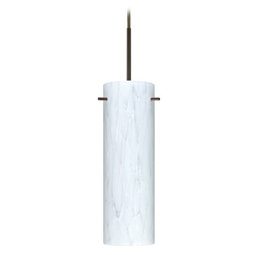 Besa Lighting Besa Lighting Copa Bronze LED Mini-Pendant Light with Cylindrical Shade 1BT-493019-LED-BR