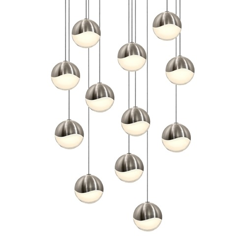 Sonneman Lighting Sonneman Grapes Satin Nickel 12 Light LED Multi-Light Pendant   2917.13-MED