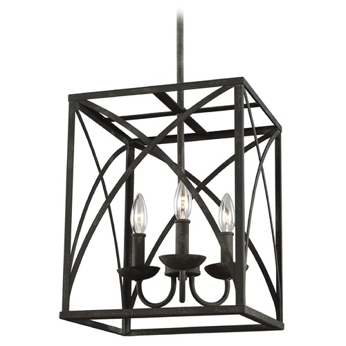 Sea Gull Lighting Sea Gull Lighting Greenbrier Iron Oxide Pendant Light with Rectangle Shade F3196/3IO