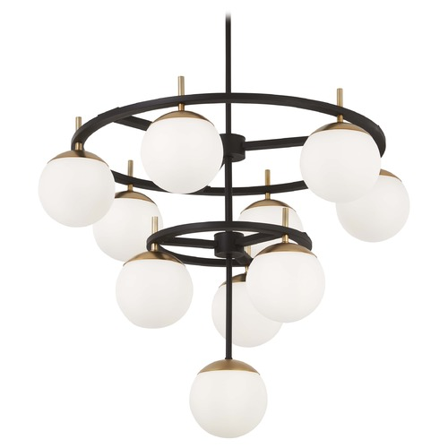 George Kovacs Lighting George Kovacs Alluria Weathered Black W/autumn Gold Chandelier P1358-618