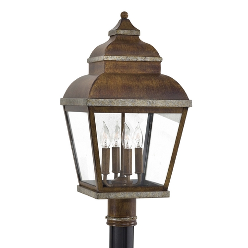 Minka Lavery Post Light with Clear Glass in Mossoro Walnut W/silver Highlights Finish 8265-161