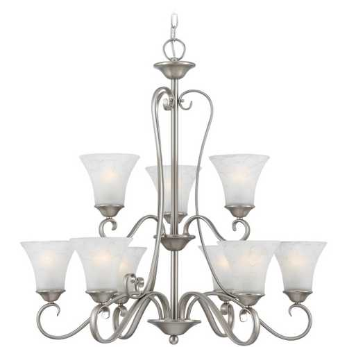 Quoizel Lighting Chandelier with Grey Glass in Antique Nickel Finish DH5009AN