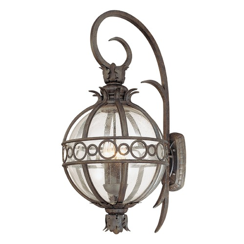 Troy Lighting Outdoor Wall Light with Clear Glass in Campanile Bronze Finish B5004CB