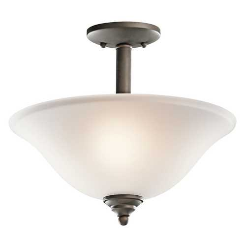 Kichler Lighting Kichler Semi-Flushmount Light with White Glass in Olde Bronze Finish 3694OZ