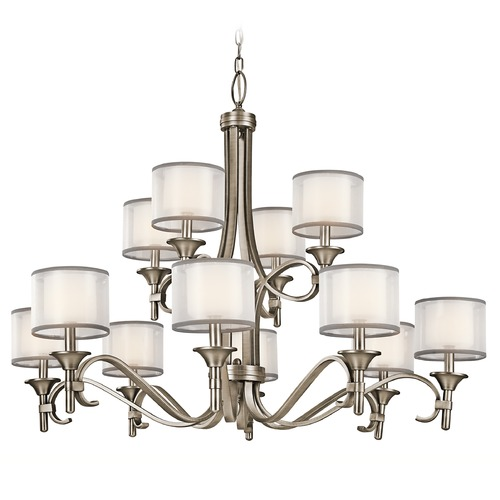Kichler Lighting Kichler Chandelier with White Glass in Antique Pewter Finish 42383AP