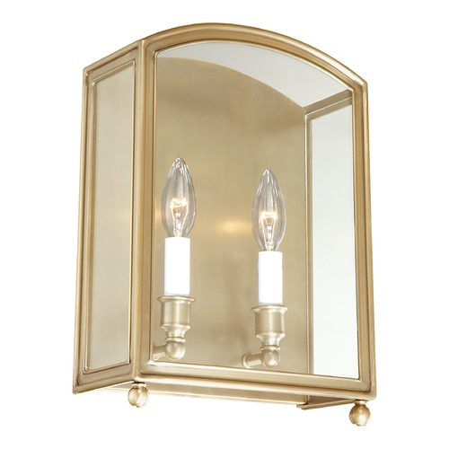 Hudson Valley Lighting Sconce Wall Light with Clear Glass in Aged Brass Finish 8402-AGB